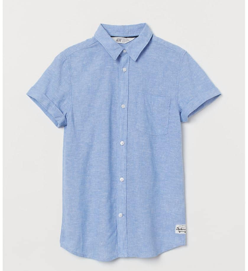 H&M Mens blue linen shirt